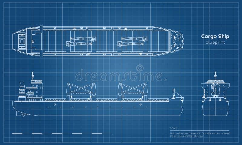 Modelo del buque de carga en el fondo blanco Vista delantera del top, lateral y del petrolero Dibujo industrial del barco del env stock de ilustración