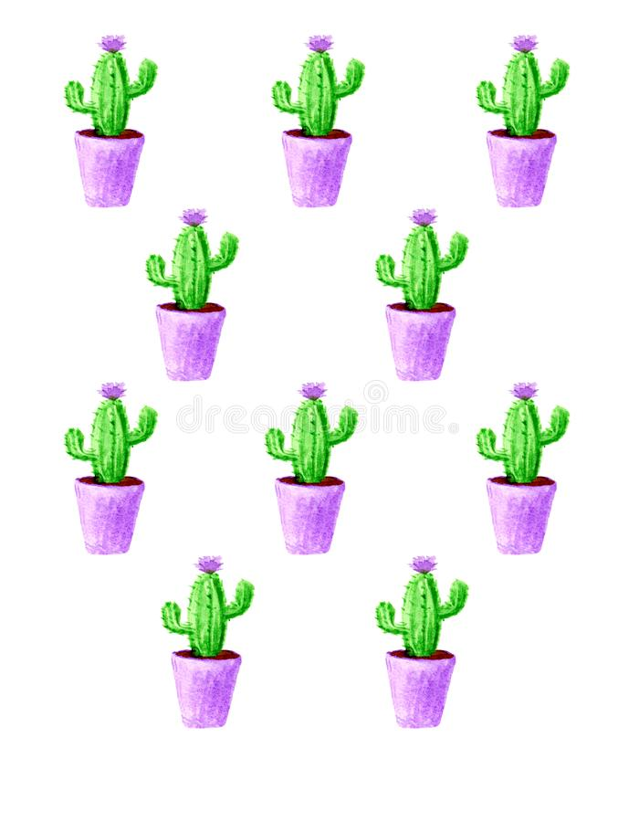 Modelo del cactus de la acuarela con la flor violeta en el fondo blanco stock de ilustración