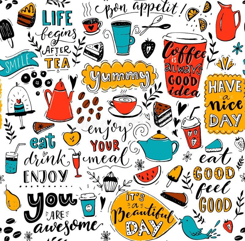 Modelo del café con los potes del té del garabato, las tazas, las citas inspiradas y los postres El café es siempre una buena ide ilustración del vector