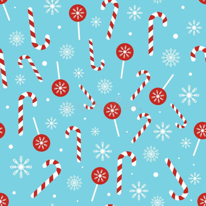 Modelo del caramelo de la Navidad en fondo azul Textura inconsútil con el bastón, la piruleta y los copos de nieve de caramelo de ilustración del vector