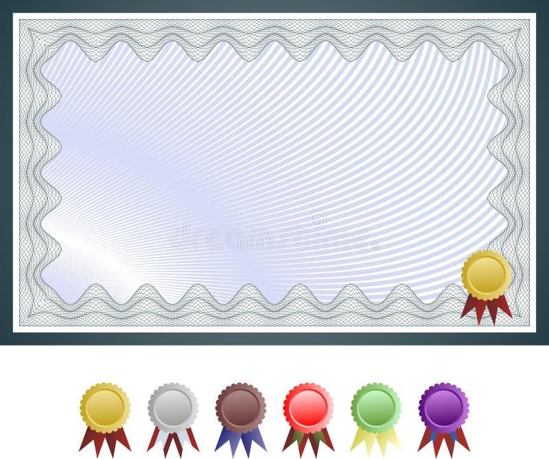 Modelo del certificado con el conjunto de sellos del certificado stock de ilustración