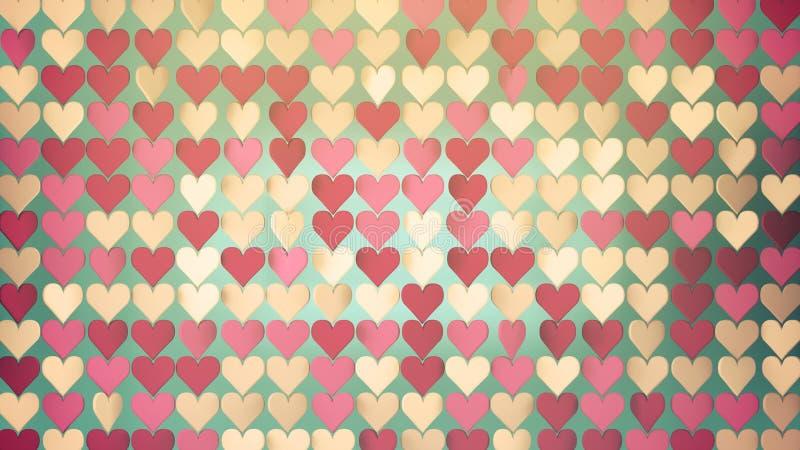 Modelo del concepto romántico de los corazones calientes de los colores 3D ilustración del vector