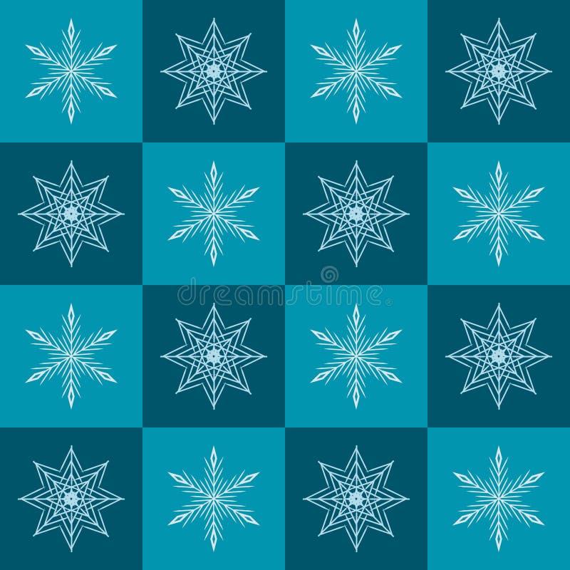 Modelo del copo de nieve Fondo a cuadros del invierno del vector inconsútil ilustración del vector