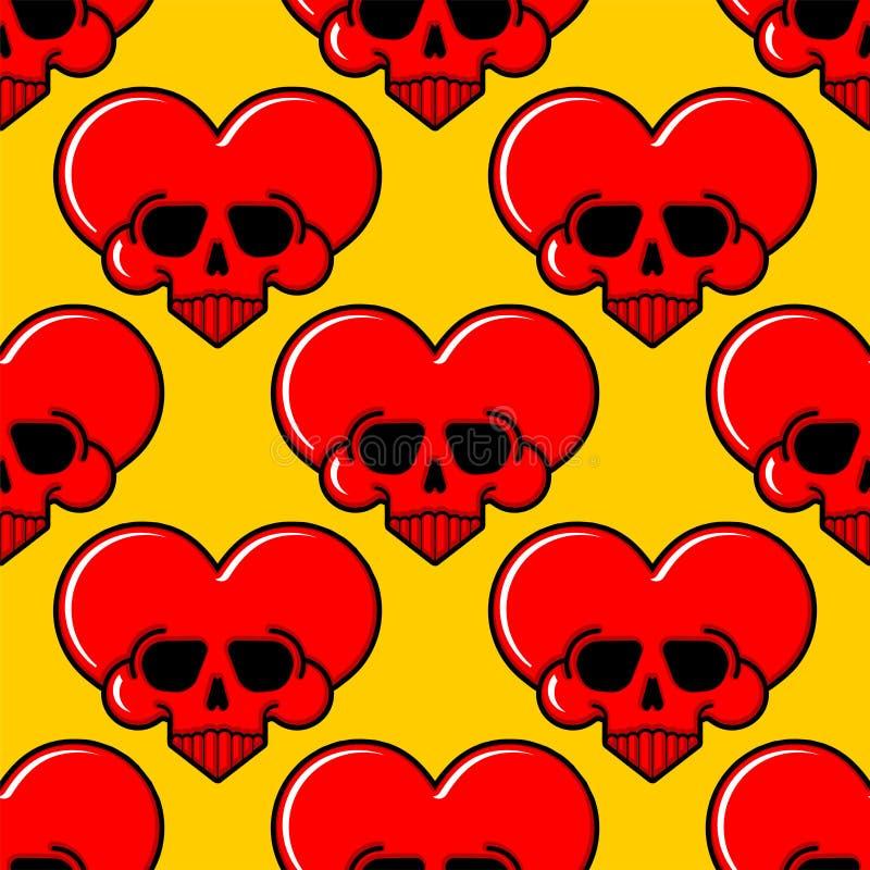 Modelo del corazón del amor del cráneo inconsútil Fondo mortal de amur Textura del vector libre illustration