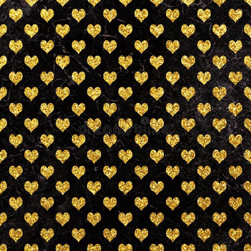 Modelo del corazón del brillo en el fondo de mármol Modelo geométrico del brillo Fondo de los corazones del oro ilustración del vector