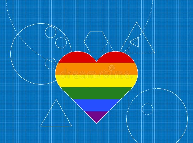 Modelo del corazón del concepto LGBT stock de ilustración