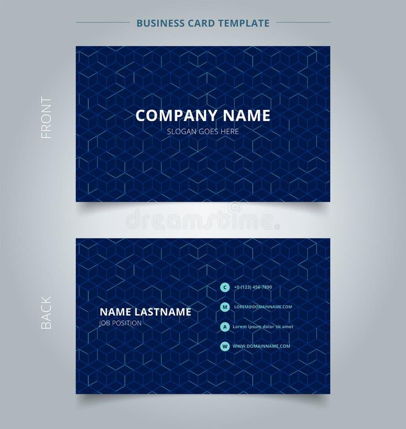 Modelo del cubo del extracto de la tarjeta de presentación del negocio en fondo azul marino Líneas geométricas malla cuadrada de  libre illustration