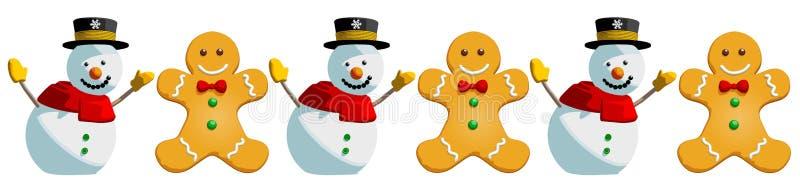 Modelo del día de fiesta de las galletas del muñeco de nieve y del hombre de pan de jengibre de la Navidad - ilustración del vector