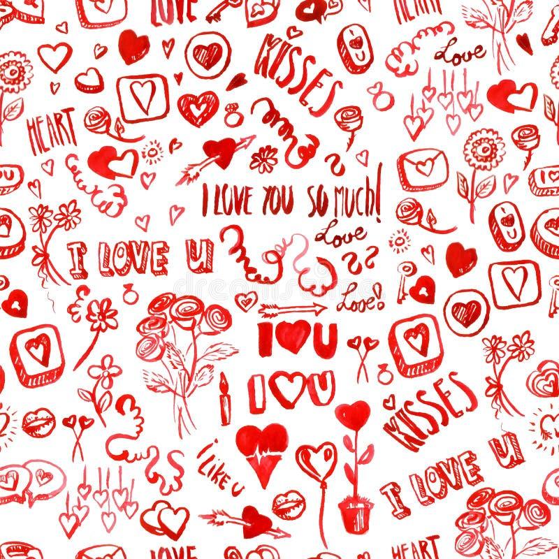 Modelo del día de tarjeta del día de San Valentín de la acuarela stock de ilustración