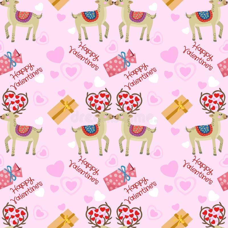 Modelo del día de tarjeta del día de San Valentín con forma del reno y del corazón en fondo rosado libre illustration