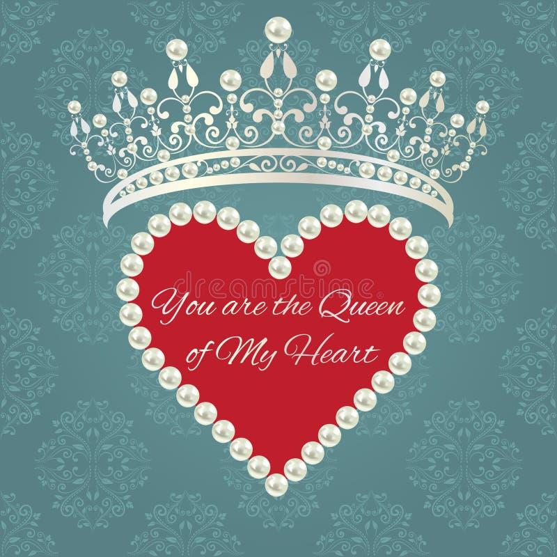 Modelo del damasco con la tiara, corazón de perlas con el texto de la muestra ilustración del vector