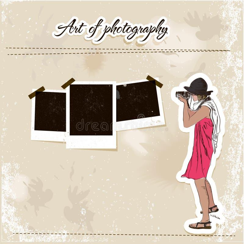 Modelo del desecho con la muchacha del fotógrafo de la manera. ilustración del vector