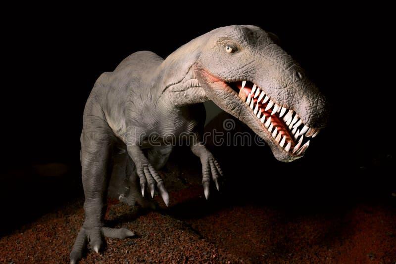 Modelo del dinosaurio - tiranosaurio Rex en fondo oscuro imágenes de archivo libres de regalías