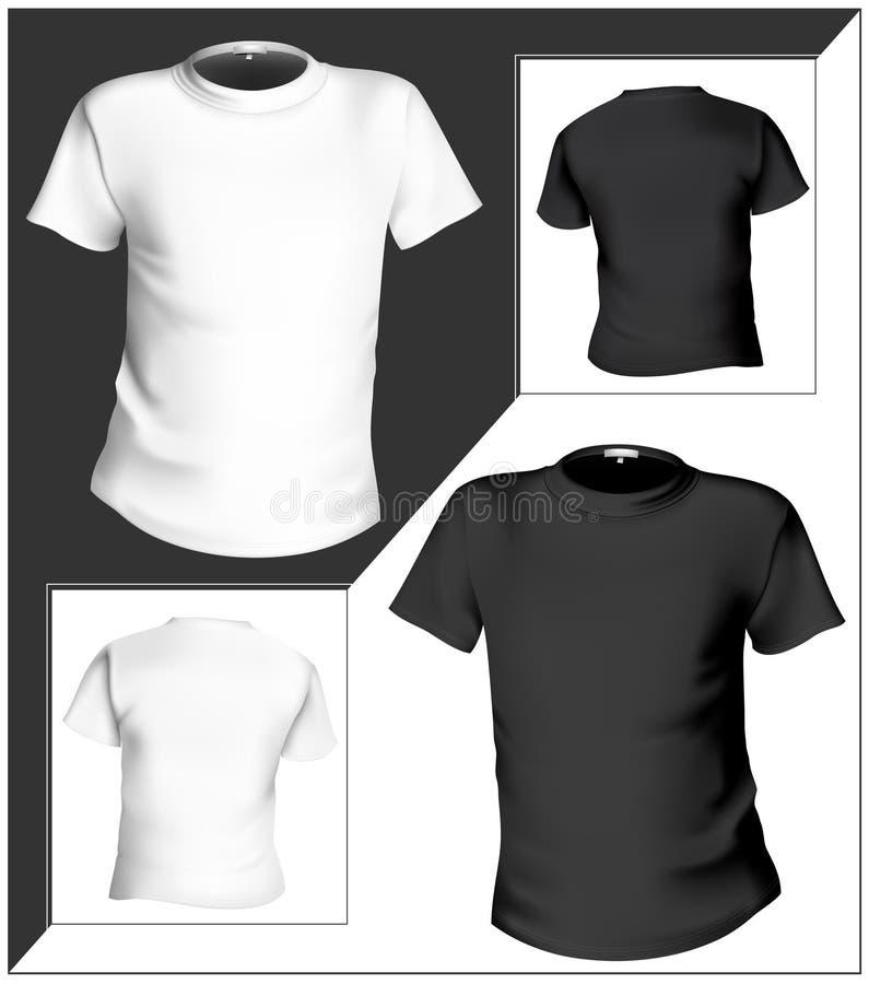 Modelo del diseño de la camiseta (frente y parte posterior). Negro y ilustración del vector