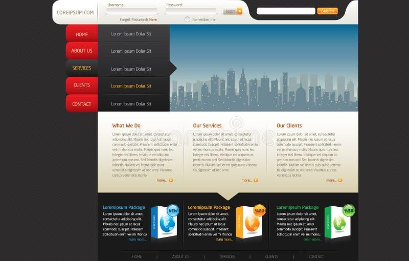Modelo del diseño del Web site stock de ilustración