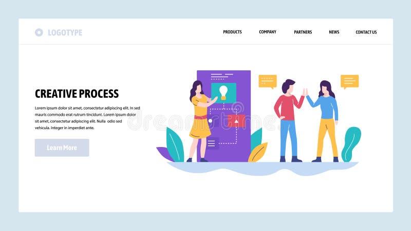 Modelo del diseño del Web site del vector Éxito creativo del equipo de la idea y del negocio Trabajo en equipo Conceptos de aterr ilustración del vector