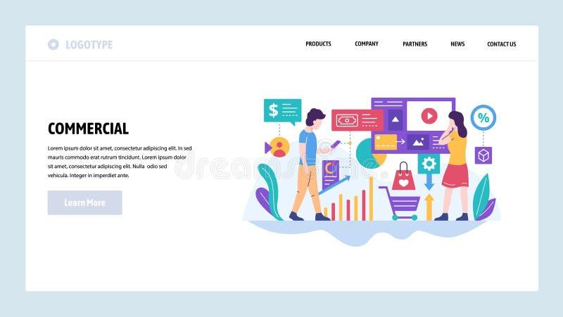 Modelo del diseño del Web site del vector Anuncio comercial del márketing y del negocio de Digitaces Conceptos de aterrizaje de l ilustración del vector