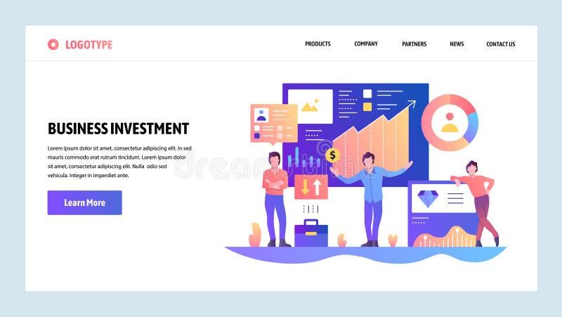 Modelo del diseño del Web site del vector Finanzas, negocio e inversión del dinero Conceptos de aterrizaje de la página para la p stock de ilustración