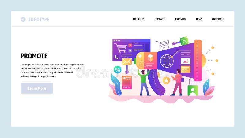 Modelo del diseño del Web site del vector Márketing de Digitaces y promoción de los medios, megáfono, negocio Conceptos de aterri libre illustration