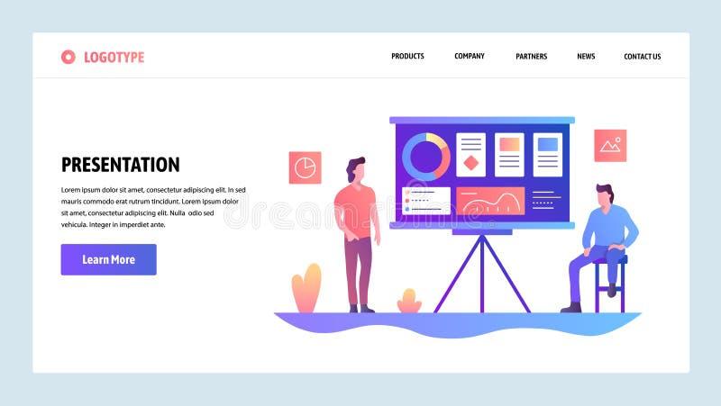 Modelo del diseño del Web site del vector Presentación del negocio con las cartas financieras Conceptos de aterrizaje de la págin ilustración del vector