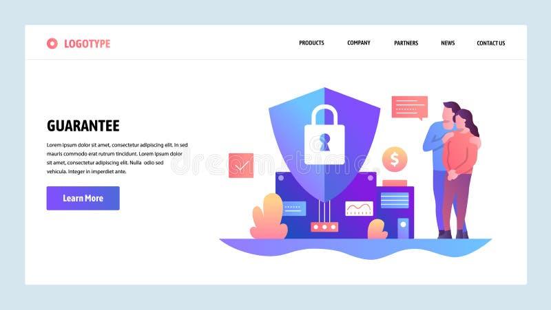 Modelo del diseño del Web site del vector Presupuesto familiar y seguro financiero Garantía y seguro en futuro Página de aterriza ilustración del vector