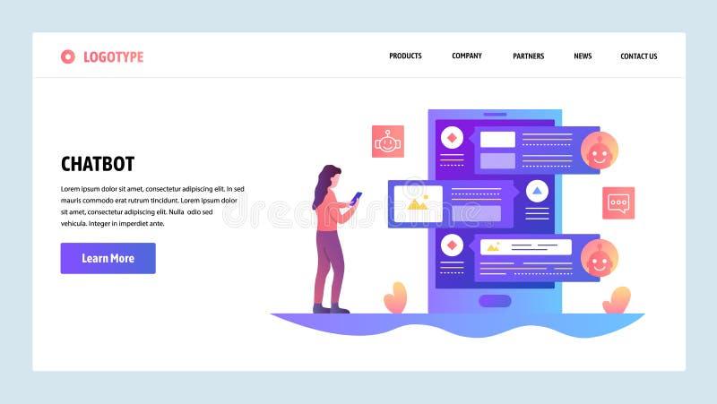 Modelo del diseño del Web site del vector Servicio en línea del bot y de atención al cliente de la charla del AI Conceptos de ate stock de ilustración