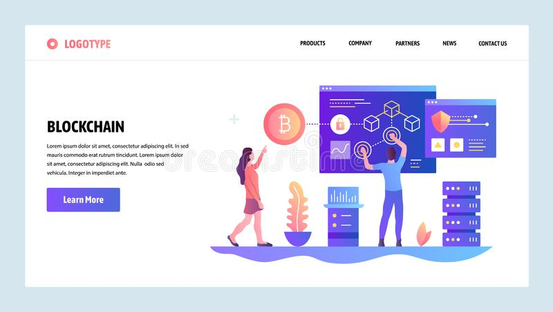 Modelo del diseño del Web site del vector Tecnología de Blockchain y del cryptocurrency Bitcoin Conceptos de aterrizaje de la pág stock de ilustración