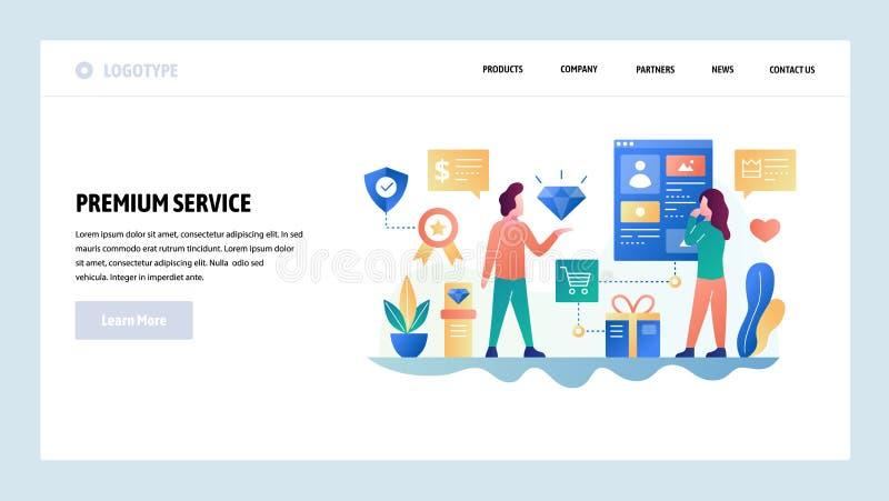 Modelo del dise?o del Web site del vector Servicio de atención al cliente superior de la calidad Ayuda en línea de la tienda Conc ilustración del vector