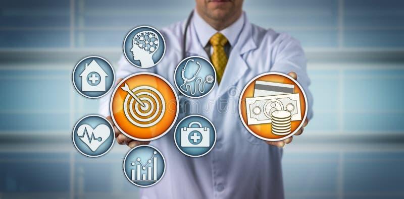 Modelo del doctor Presenting Value-Based Healthcare fotografía de archivo libre de regalías