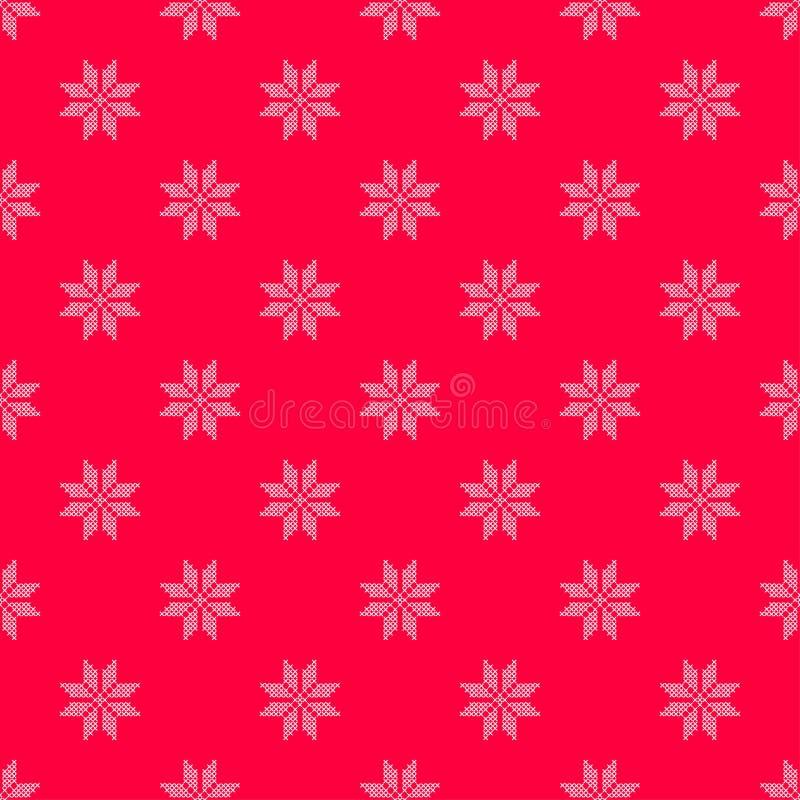 Modelo del ejemplo con el fondo rojo y pequeña el copo de nieve cosido cruz blanca stock de ilustración