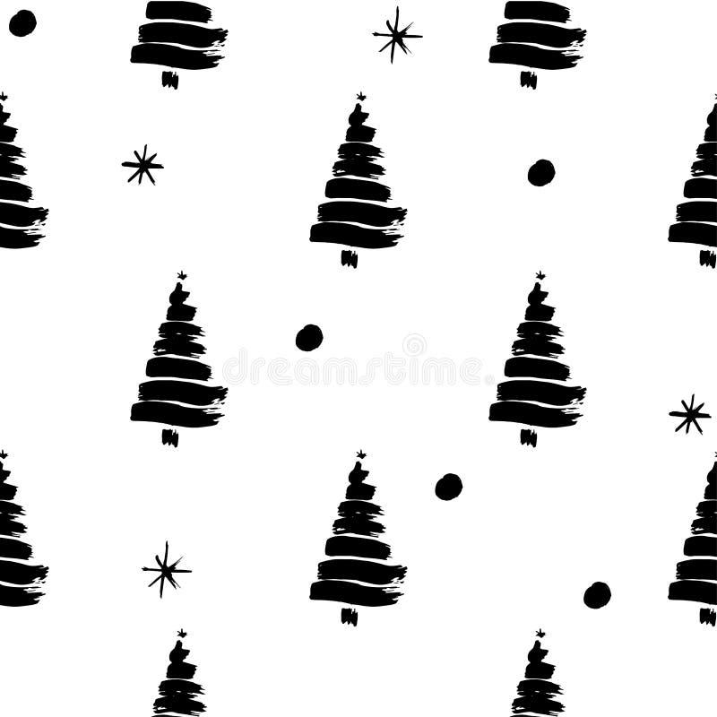 Modelo del ejemplo en el tema del invierno con el fondo blanco y la silueta negra de árboles con las bolas de nieve y los copos d stock de ilustración