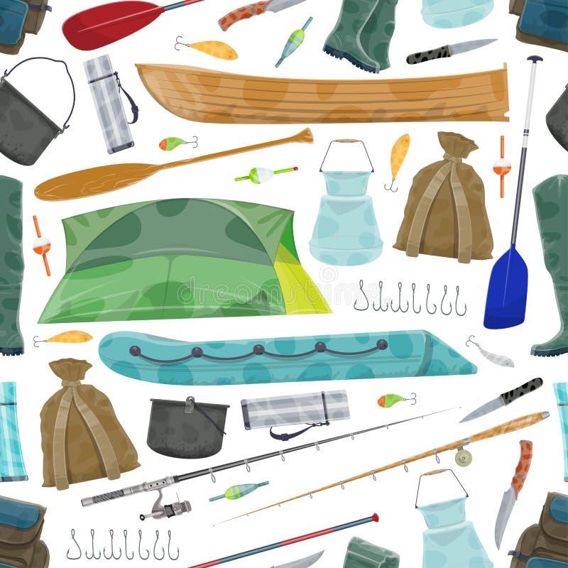 Modelo del equipo de pesca del pescador del vector stock de ilustración