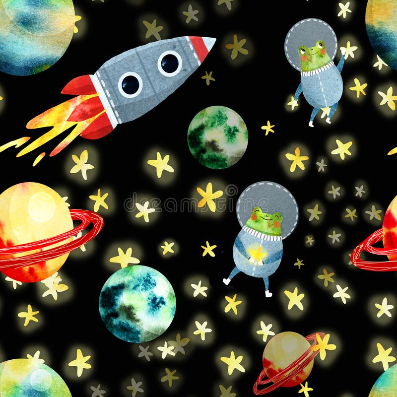 Modelo del espacio con los planetas y el cohete ilustración del vector