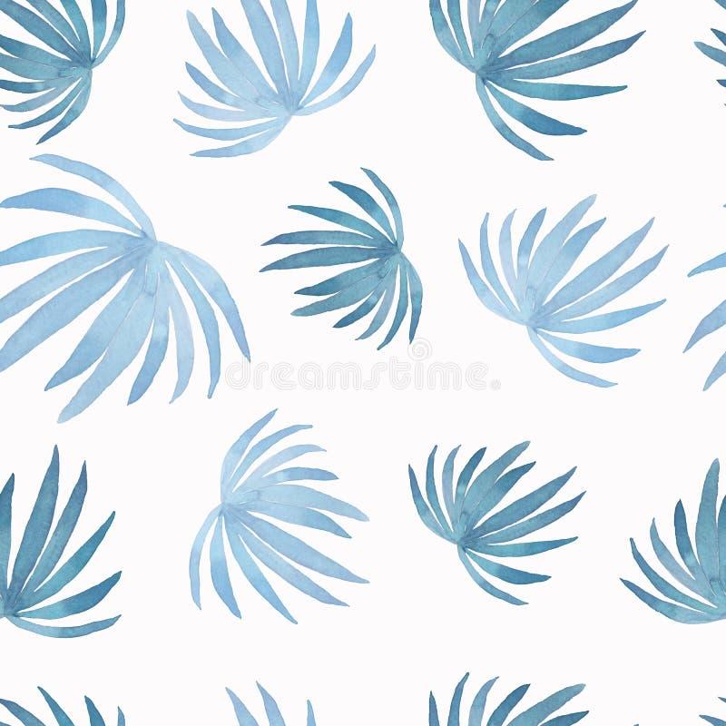 Modelo del extracto de la acuarela de la hoja de palma de pintura del coco, hojas azules aisladas en el fondo blanco Trópico pint ilustración del vector