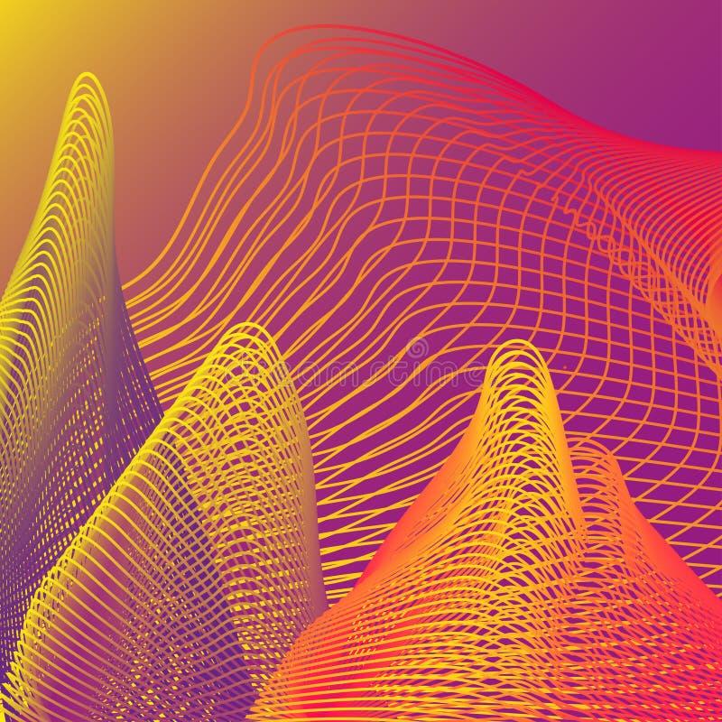 Modelo del extracto del vector con las líneas de neón que brillan intensamente en fondo futurista ilustración del vector