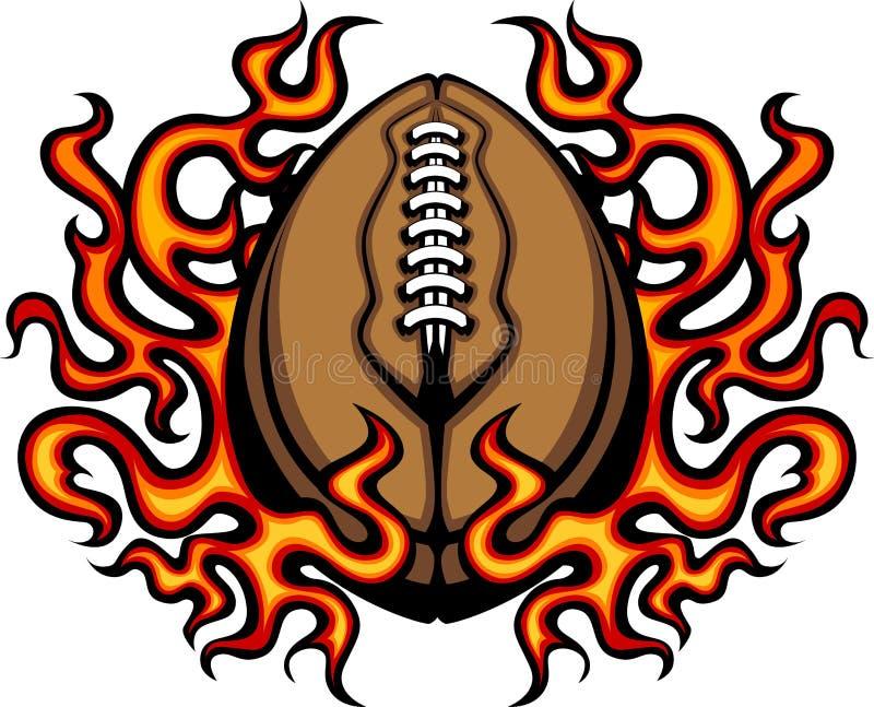 Modelo del fútbol americano con imagen de las llamas stock de ilustración
