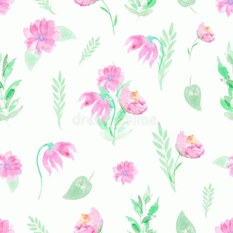 Modelo del fondo de la acuarela con las flores y las ramitas rosadas libre illustration