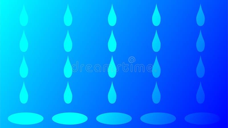Modelo del fondo de la gota de lluvia Fondo del extracto del descenso del agua ilustración del vector