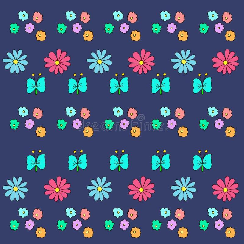 Modelo del garabato con las flores y la mariposa libre illustration