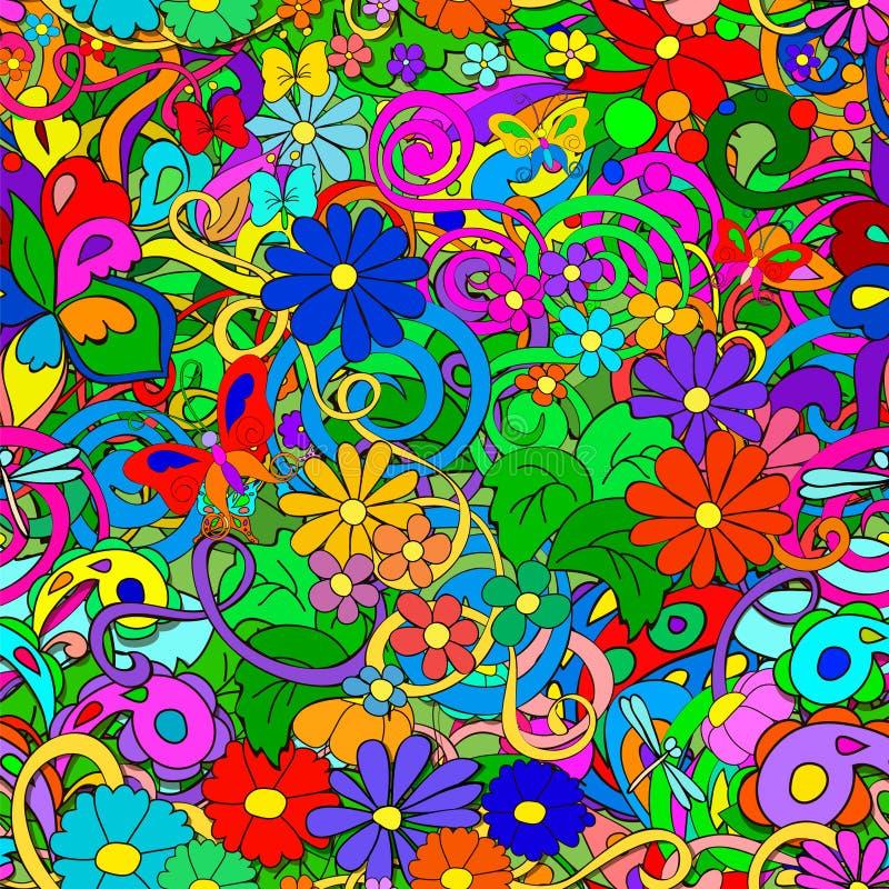 Modelo del garabato con las flores y los remolinos stock de ilustración