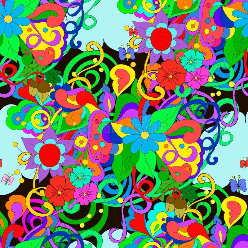 Modelo del garabato con las flores y los remolinos ilustración del vector