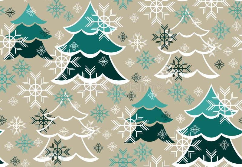 Modelo del invierno con los árboles y los copos de nieve stock de ilustración