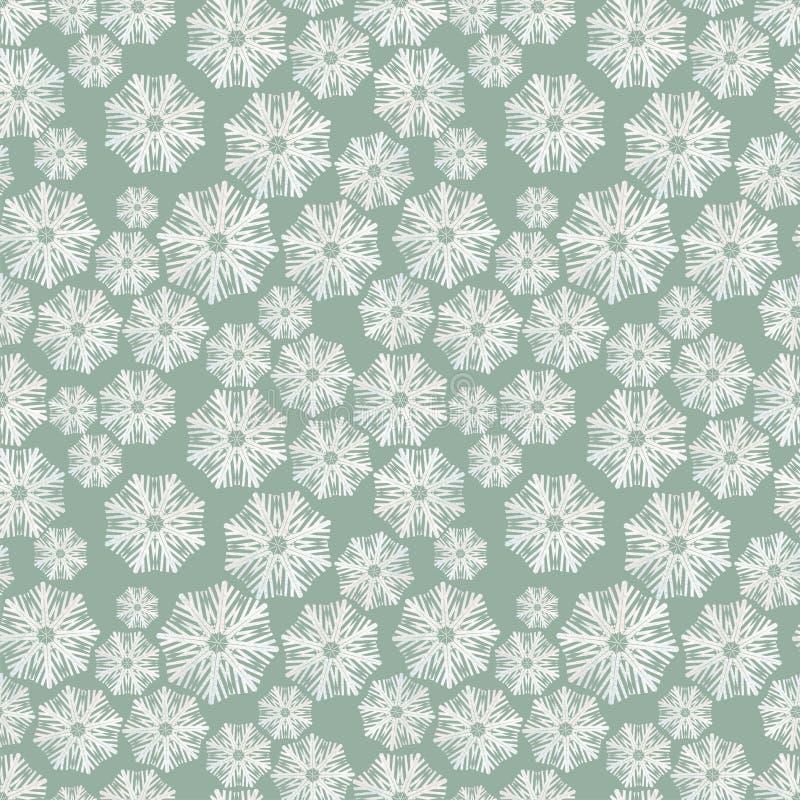Modelo del invierno con los copos de nieve en un fondo verde ilustración del vector