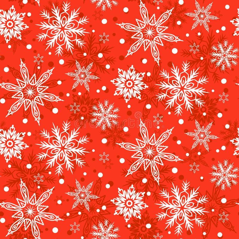 Modelo del invierno con los diversos copos de nieve que caen stock de ilustración