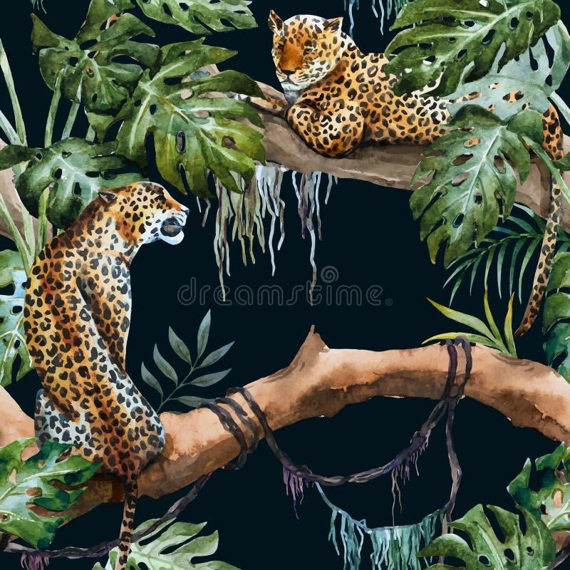 Modelo del leopardo del vector de la acuarela stock de ilustración