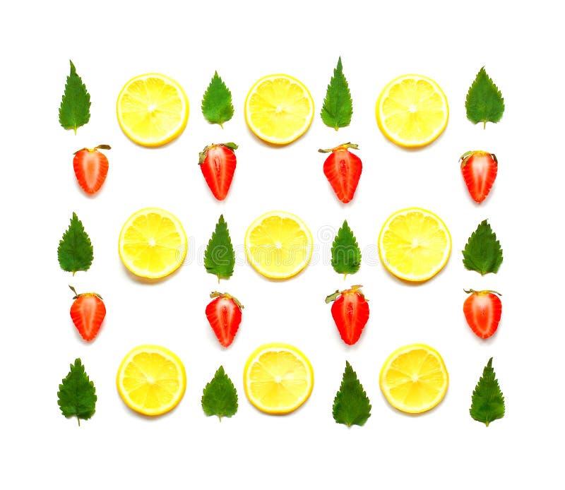Modelo del limón, de la menta y de la fresa fotos de archivo libres de regalías