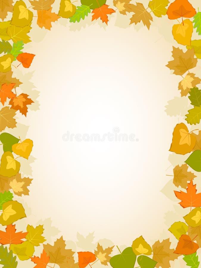 Modelo del marco de la hoja del otoño stock de ilustración