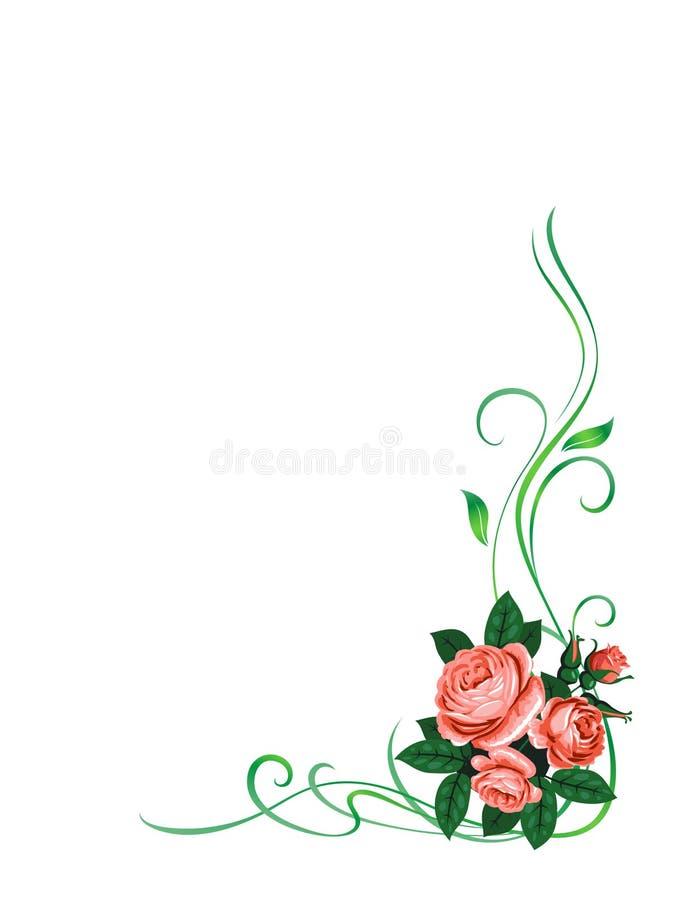 Modelo del marco de las rosas stock de ilustración
