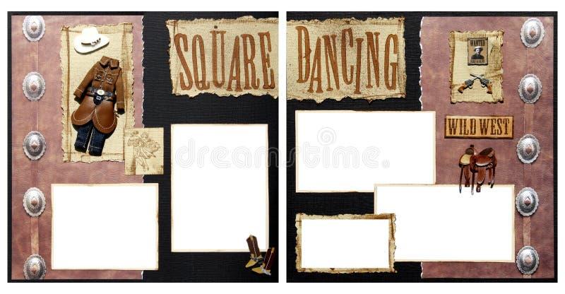 Modelo del marco del libro de recuerdos del baile cuadrado stock de ilustración