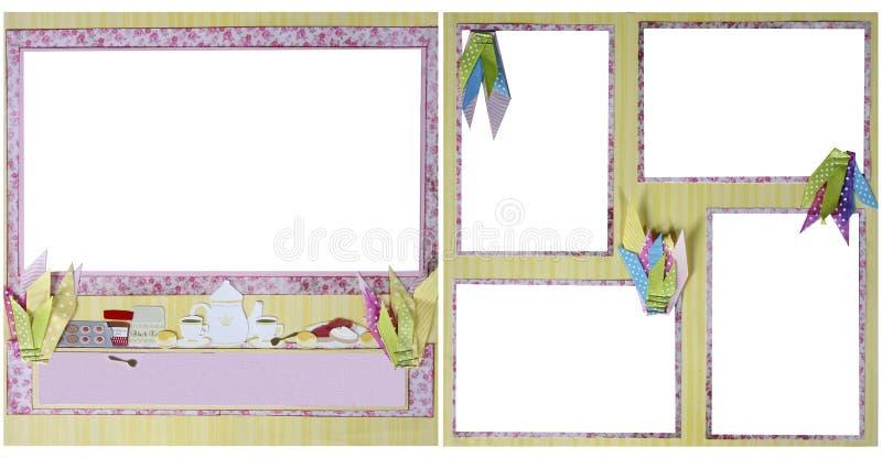 Modelo del marco del libro de recuerdos del partido de té stock de ilustración